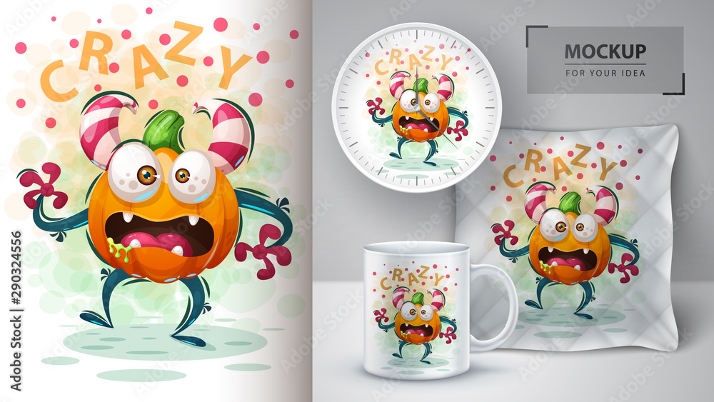 Fototapety, obrazy: Cute pumpkin monster - mockup for your idea