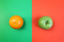 Fruits Orange And Green Apple ...