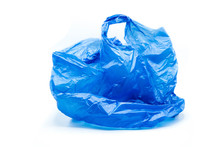 Blue Plastic Bag Isolated On W...