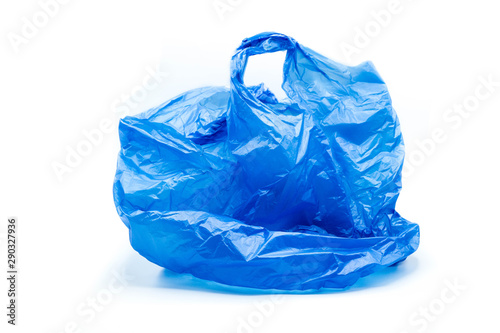 Fotomural  blue plastic bag isolated on white background