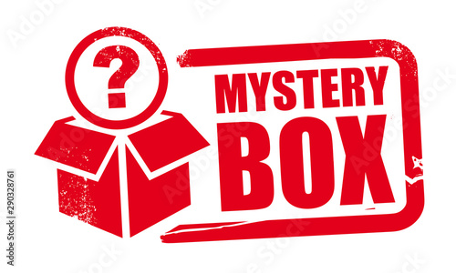 Fotografía mystery box rubber stamp template with question mark