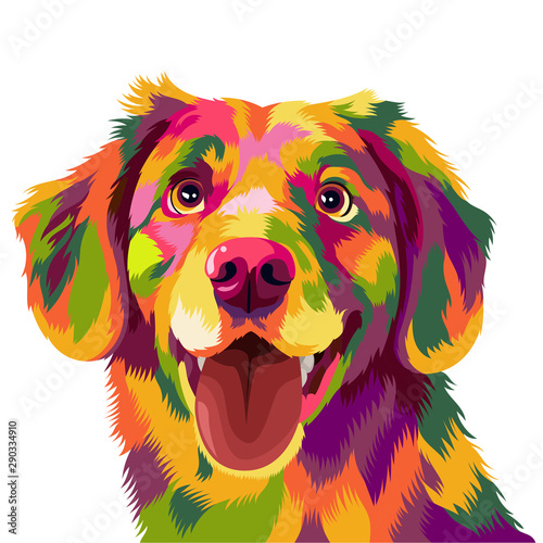 Fotografia Cute and funny dog vector pop art full colours