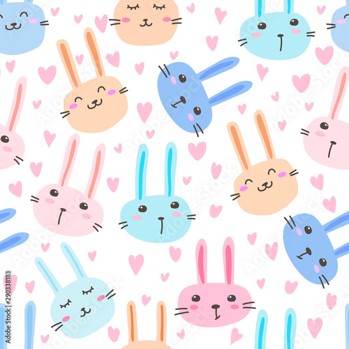 Obraz na plátně Cute bunny seamless pattern background. Vector illustration.
