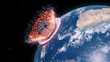 Leinwandbild Motiv 3d rendered illustration of an asteroid impacts earth