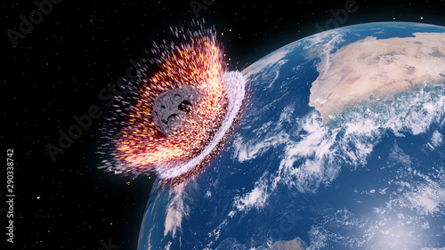 Obraz 3d rendered illustration of an asteroid impacts earth - fototapety do salonu