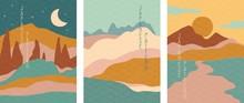 Triptych Of Simple Stylised Mi...