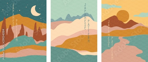 Photo Triptych of simple stylised minimalist Japanese landscapes in muted colors, abstract elements