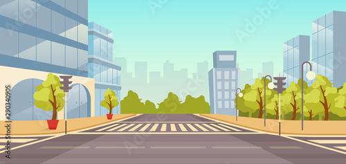Foto  City street flat vector illustration
