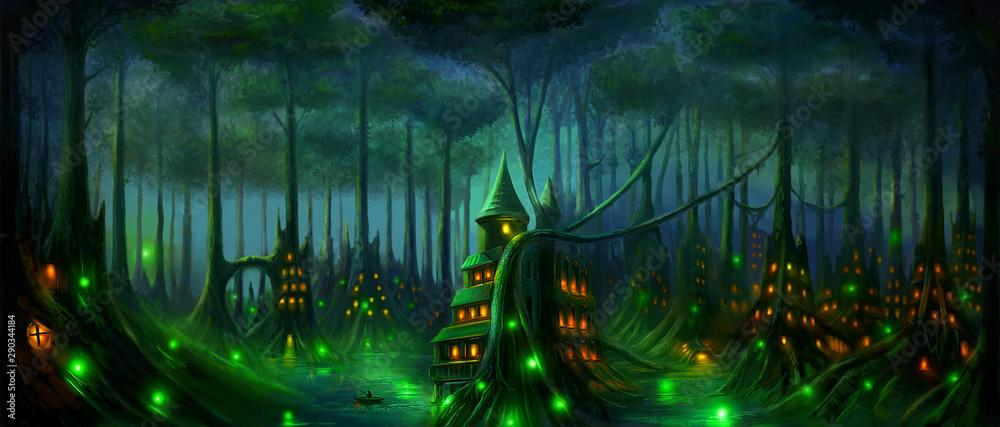 Fototapeta Fantasy landscape Dark Elf forest