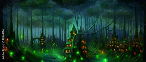 Obrazy w różnych kolorach  fantasy-landscape-dark-elf-forest