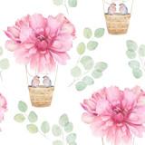 Akwarela bezszwowe wzór. Balon aerostat z różową piwonią i parą ptaków, gałęziami eukaliptusa. Ręcznie rysowane ilustracja kwiatowy - 290344517