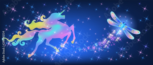 Iridescent unicorn with luxurious winding mane and dragonfly against the background of the fantasy universe with sparkling stars