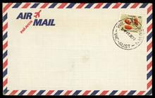 Briefmarke Stamp Luftpost Airmail Briefumschlag Envelope Australien Australia Retro Vintage Callistemon Teretifolius Zylinderputzer Williamstown