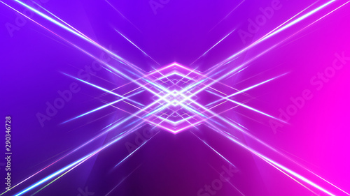 canvas print motiv - MiaStendal : Ultraviolet abstract light. Diode tape, light line. Violet and pink gradient. Modern background, neon light. Empty stage, spotlights, neon. Abstract light.