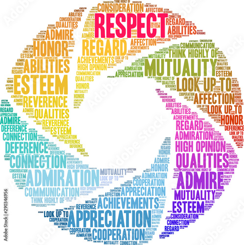 Respect Word Cloud on a white background. Canvas Print
