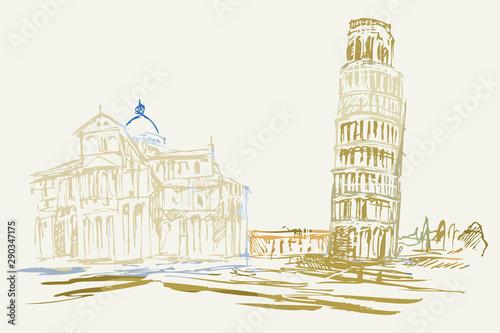 Fototapeta Rysynek ręcznie rysowany. Widok na krzywą wieże w Pizie obraz