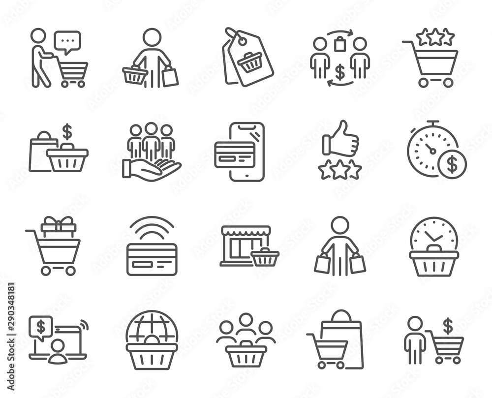 Fototapeta Buyer customer line icons. Contactless payment card, shopping cart and group of people. Store, buyer loyalty card, client ranking set icons. Shopping timer, phone payment, currency. Vector set