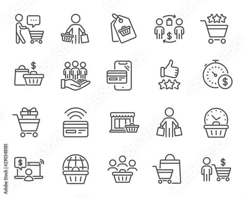 Fotomural Buyer customer line icons