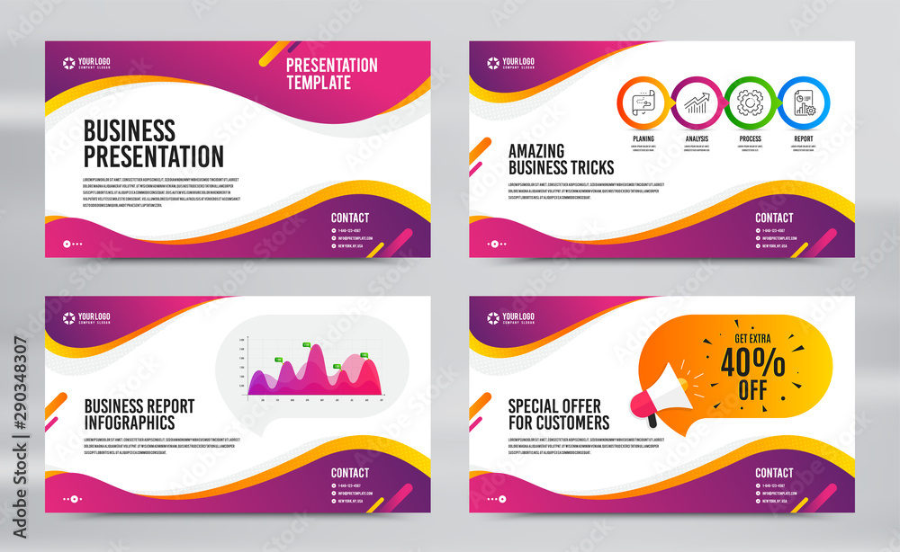 Fototapeta Layout design with cover page. Report presentation slide. Brochure templates. Infographics timeline page. Discounts special offer. Business presentation cover layout. Newsletter slide. Vector brochure
