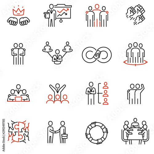 Valokuvatapetti Vector set of 16 linear quality icons related to team work, human resources, business interaction