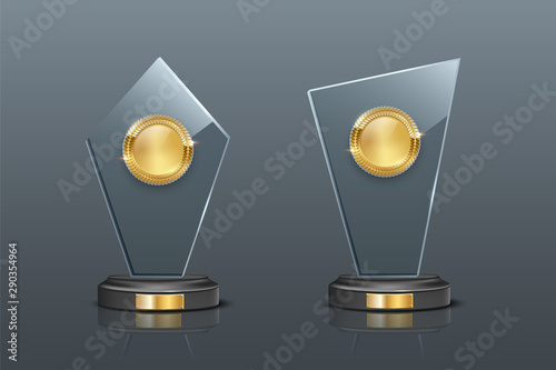Fotografiet Glass award realistic vector illustration