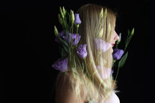 Double Exposure Portrait Of Young Woman With Flowers
