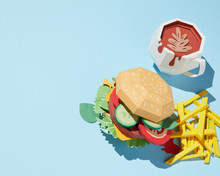 Paper Craft Burger With Cup Of Coffee And French Fries On A Blue Background.