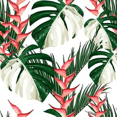 Fototapeta Egzotyczne Exotic white monstera leaves and tropical flowers seamless pattern.