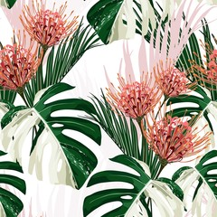 Panel Szklany Natura White exotic monstera leaves and Africa flowers seamless pattern.