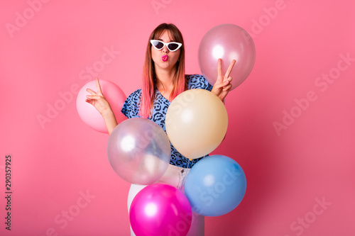 Beautiful woman with colored balloons Wallpaper Mural