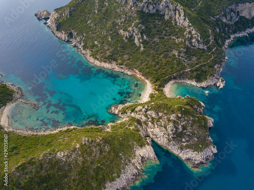 Photo  Aerial top photo of Porto Timoni is an amazing beautiful double beach in Corfu,