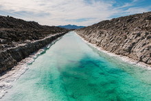 Calcium Chloride Mine Tailings And Canal In Desert