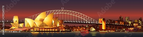 Photo sydney harbour bridge at night