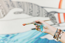 Hand Of Talented Mural Artist
