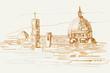 Rysynek ręcznie rysowany. Widok na renesasowe zabytki we Florencji we Włoszech