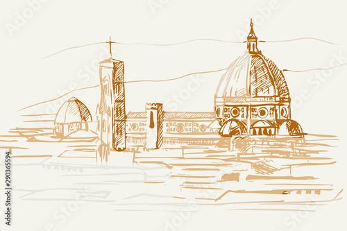Naklejka premium Rysynek ręcznie rysowany. Widok na renesasowe zabytki we Florencji we Włoszech