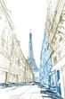 Rysynek ręcznie rysowany. Widok na modernistyczną ulicę w Paryży z widokiem na wieże Eiffla