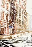 Fototapeta Nowy Jork - Rysynek ręcznie rysowany. Widok ulicę w Nowym Jorku