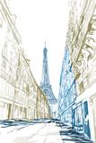 Fototapeta Wieża Eiffla - Rysynek ręcznie rysowany. Widok na modernistyczną ulicę w Paryży z widokiem na wieże Eiffla