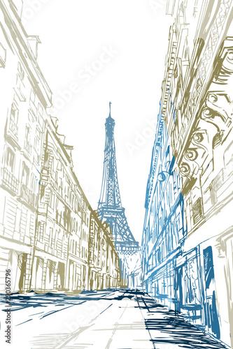 Fototapeta Rysynek ręcznie rysowany. Widok na modernistyczną ulicę w Paryży z widokiem na wieże Eiffla obraz