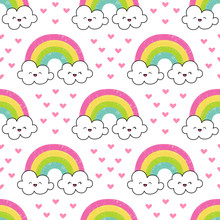 Cute Pattern With Rainbow And ...