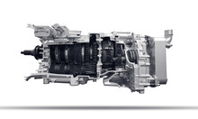 Modern Heavy Duty Automatic Transmission Of A Truck Isolated Over White Background