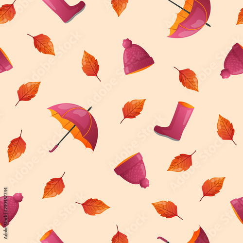 Printed kitchen splashbacks Pattern Autumn season seamless pattern.