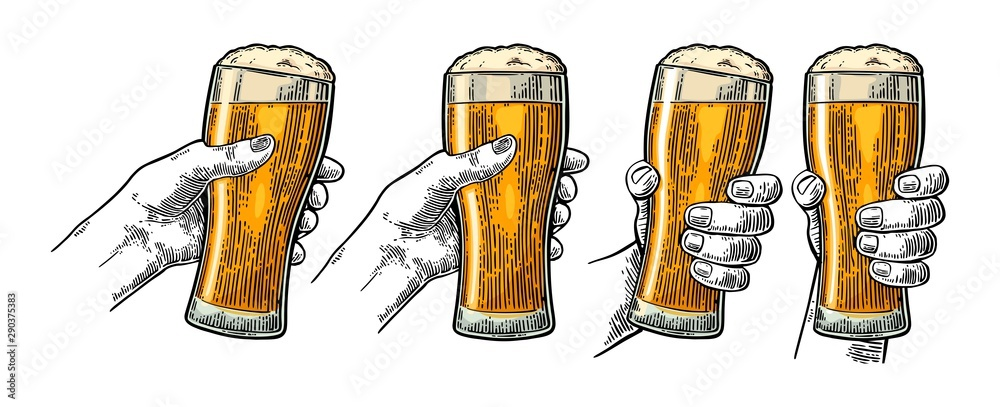Fototapety, obrazy: Man and woman hands holding, clinking with beer glass. Engraving