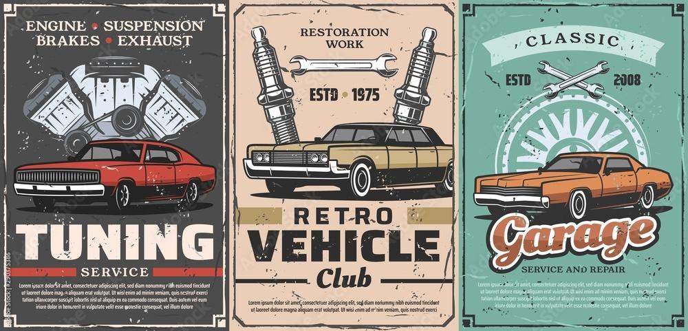 Fototapeta Retro cars tuning service, vintage vehicles