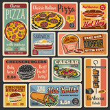 Fast food burgers, pizza and hot dogs