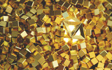 Golden Abstract Light ball Unique in a Stack of Gold Cube, 3d rendering.