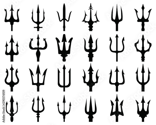 Set of black silhouettes of trident on a white background Wallpaper Mural
