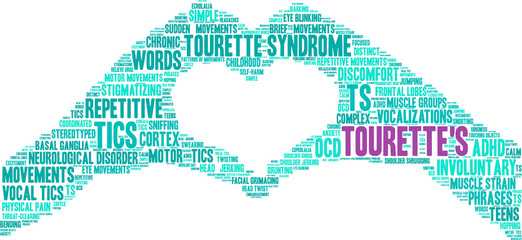 Tourette's Word Cloud on a white background.