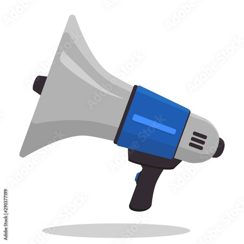 Loudspeaker or Megaphone flat style icon isolated on white background Wallpaper Mural